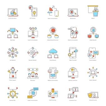 Pacote de ícones plana de tecnologia moderna