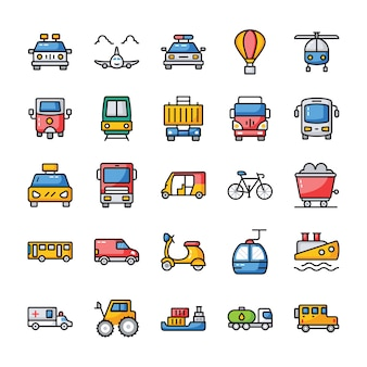 Pacote de ícones plana de transporte