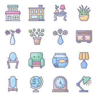 Pacote de ícones plana interior de móveis domésticos