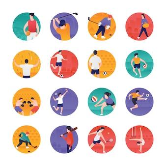 Pacote de ícones plana olímpica e esportiva