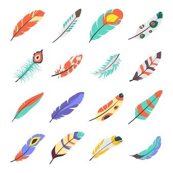 Pacote de ícones planos de asas de pássaros