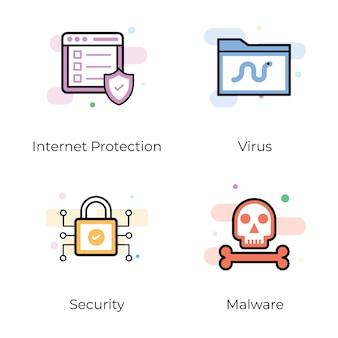 Pacote de ícones planos de segurança