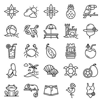 Pacote de ícones tropicais, com estilo de ícone de contorno