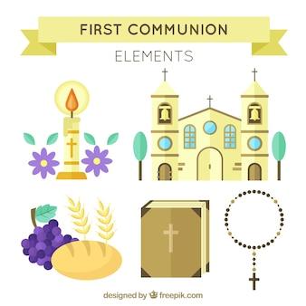 Pacote de igreja e outros elementos de primeira comunhão