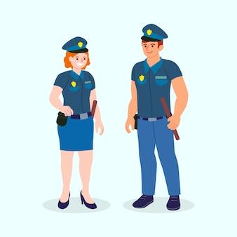 Pacote de ilustração da polícia