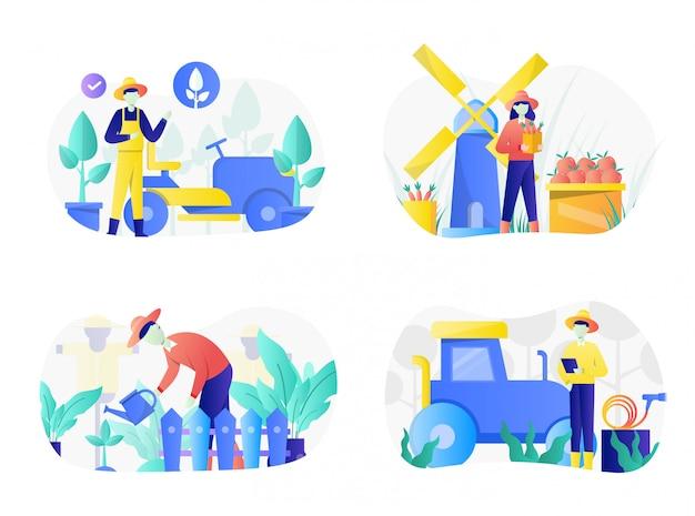 Pacote de ilustração de agricultura plana com caráter