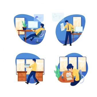 Pacote de ilustração de atividades do office