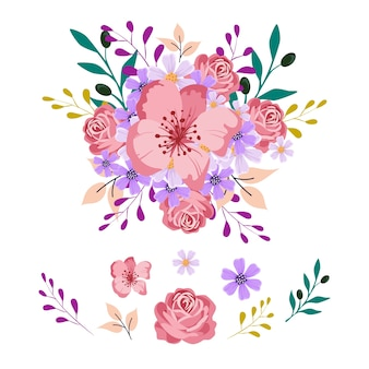 Pacote de ilustração de buquê de flores 2d
