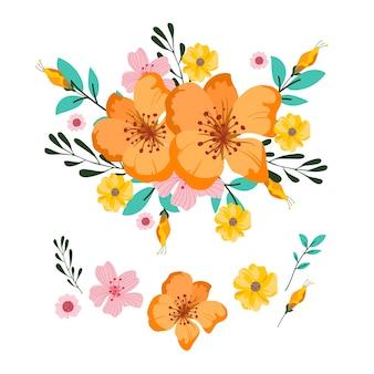 Pacote de ilustração de buquê floral 2d