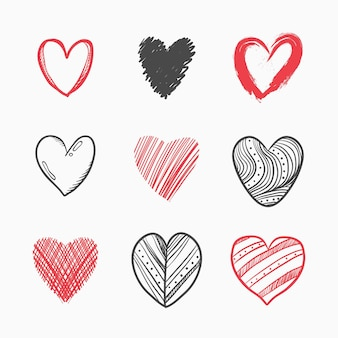Pacote de ilustração de coração desenhado à mão