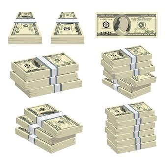 Pacote de ilustração de dinheiro dólares isolado no fundo branco