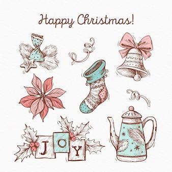 Pacote de ilustração de elementos de natal desenhado à mão