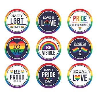 Pacote de ilustração de etiquetas do dia do orgulho