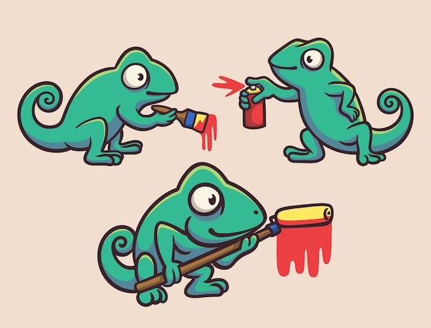 Pacote de ilustração de mascote de tinta camaleão com pincel, spray e rolo de pincel