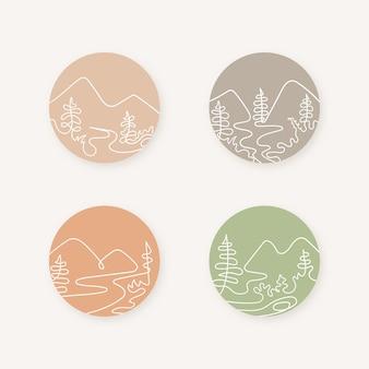 Pacote de ilustração de montanhas de arte de linha com cores suaves
