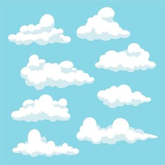 Pacote de ilustração de nuvem plana