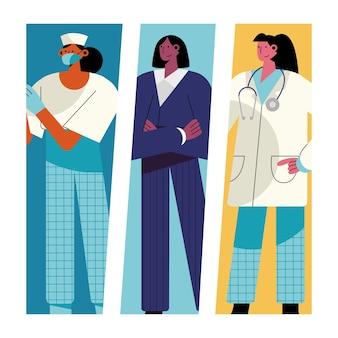 Pacote de ilustração de personagens de três meninas com profissões diferentes