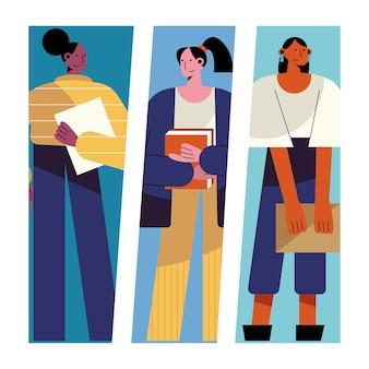 Pacote de ilustração de personagens de três mulheres com profissões diferentes Vetor Premium