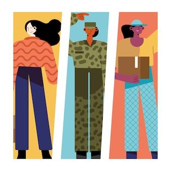 Pacote de ilustração de personagens de três mulheres com profissões diferentes