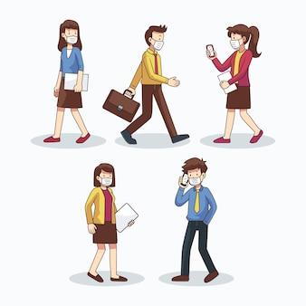 Pacote de ilustração de pessoas voltando ao trabalho