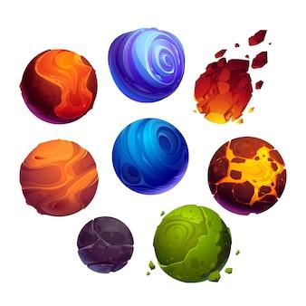 Pacote de ilustração de planetas e asteróides