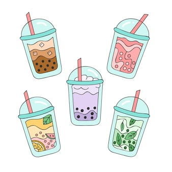 Pacote de ilustração de sabores de chá de bolha desenhada à mão