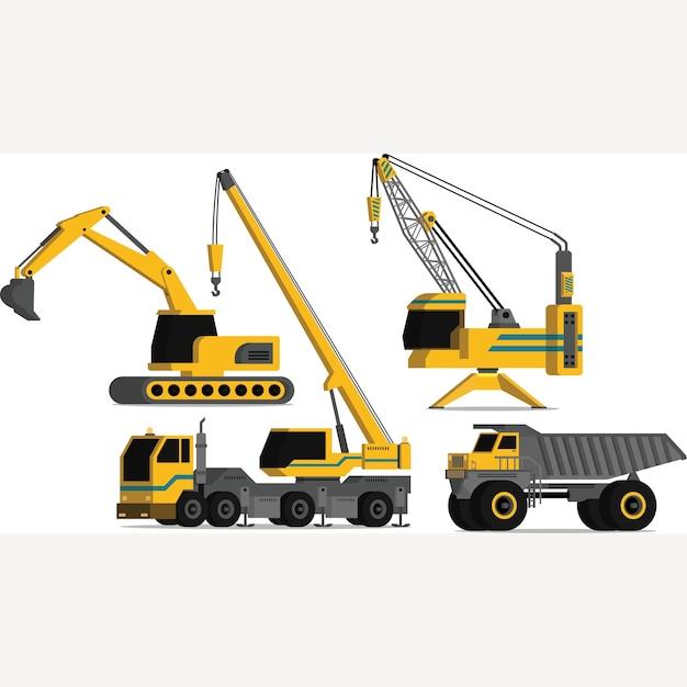 Pacote de ilustração de veículos de construção pesada