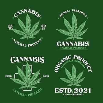 Pacote de ilustração do logotipo da folha de cannabis