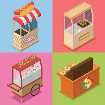 Pacote de ilustração isométrica de barraca de comida