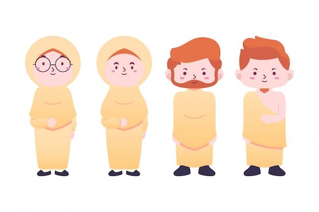 Pacote de ilustração personagens fofinhos hajj, tema de peregrinação