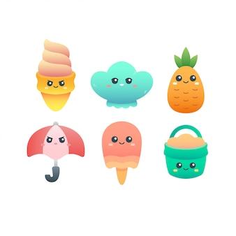 Pacote de ilustração personagens fofinhos verão tema