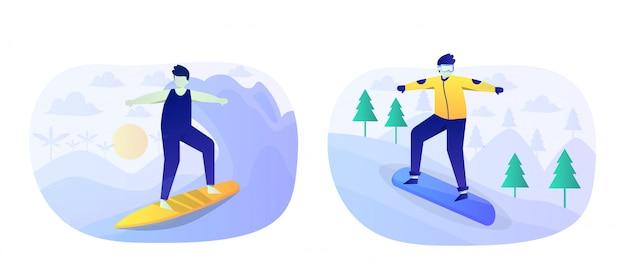 Pacote de ilustração plana de esportes radicais com personagem
