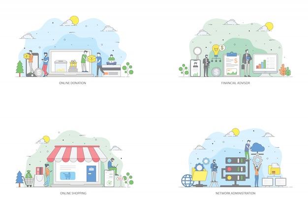 Pacote de ilustração plana de finanças on-line