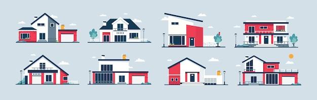 Pacote de ilustração vetorial de construção de casa para impressão de plano de fundo do pôster