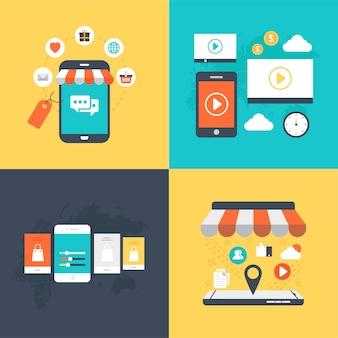 Pacote de ilustração vetorial de mobile marketing