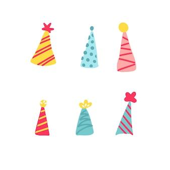 Pacote de ilustração vetorial de vários chapéus de festa com três texturas diferentes e quatro variações de cores diferentes