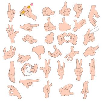 Pacote de ilustrações de desenhos animados as mãos em vários gestos.