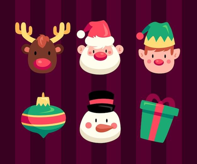 Pacote de ilustrações de design plano de elementos de natal