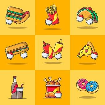 Pacote de ilustrações de fast food