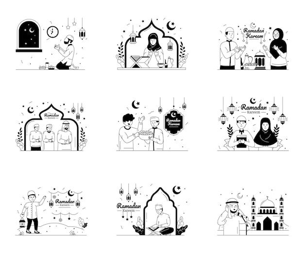 Pacote de ilustrações de linhas de glifos de ramadan kareem