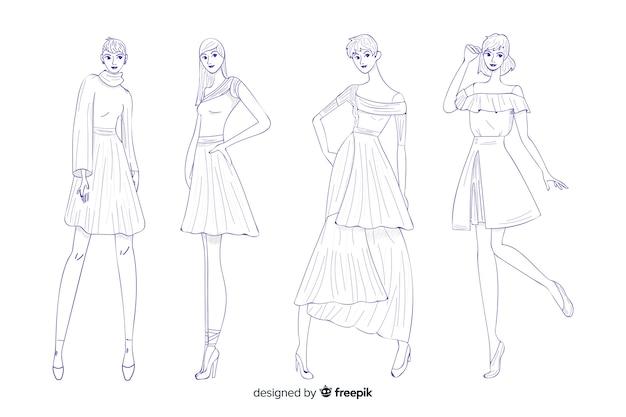 Pacote de ilustrações de moda mão desenhada design