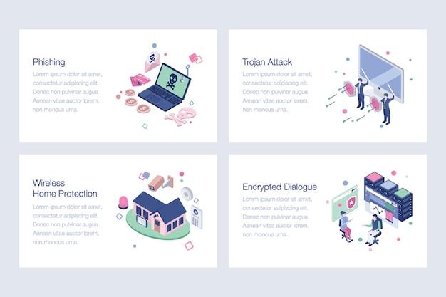 Pacote de ilustrações de segurança cibernética