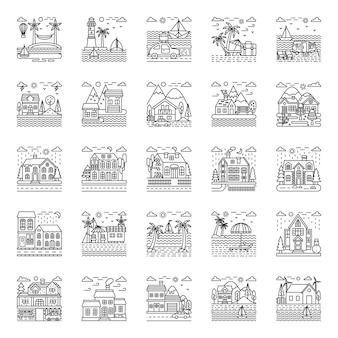 Pacote de ilustrações de verão e praia
