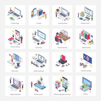 Pacote de ilustrações isométricas de educação virtual