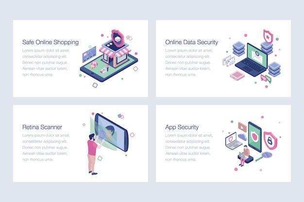 Pacote de ilustrações isométricas de segurança cibernética