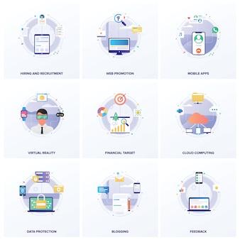 Pacote de ilustrações planas para otimização de mecanismos de busca