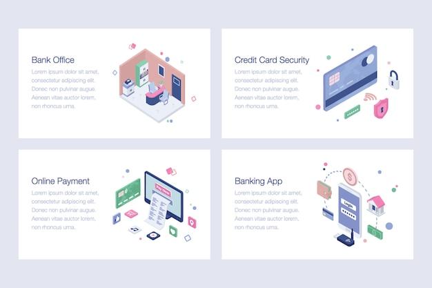 Pacote de ilustrações vetoriais de banco on-line