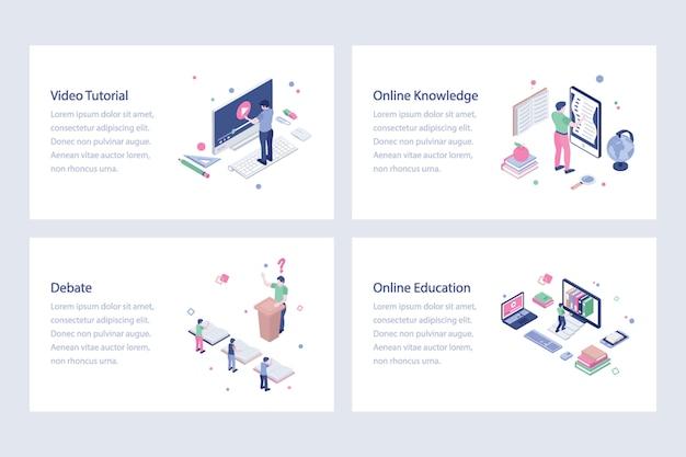 Pacote de ilustrações vetoriais de educação on-line