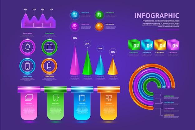 Pacote de infográfico brilhante 3d colorido