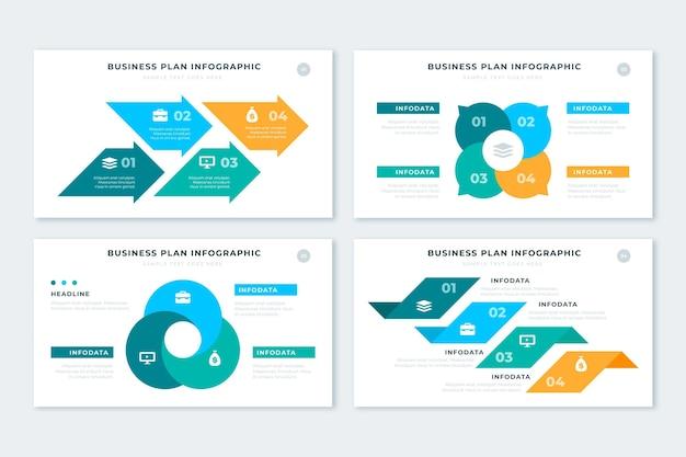 Pacote de infográfico de plano de negócios